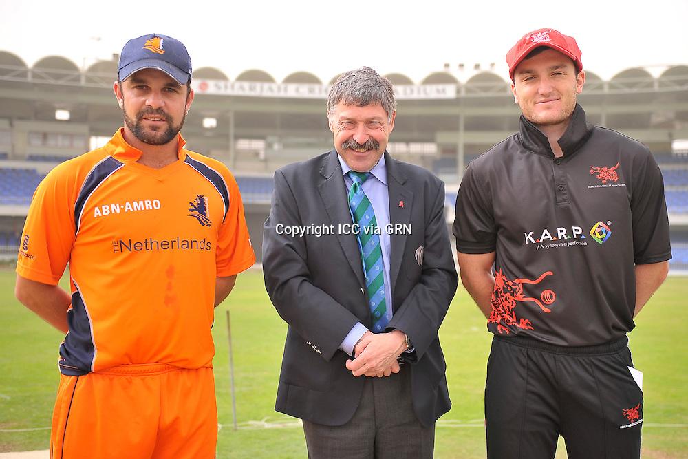 The Dutch Captain Peter Borren (L) and Hk's Captain James John Atkinson after the toss the ICC World Twenty20 Qualifier UAE 2012. Pix ICC/Thusith Wijedoru