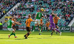Hibernian's Christian Doidge disallowed goal. Hibernian 2 v 0 Alloa Athletic, Betfred Cup game played Saturday 20th July at Easter Road, Edinburgh.