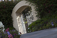 Tilt shot of entrance gate of house