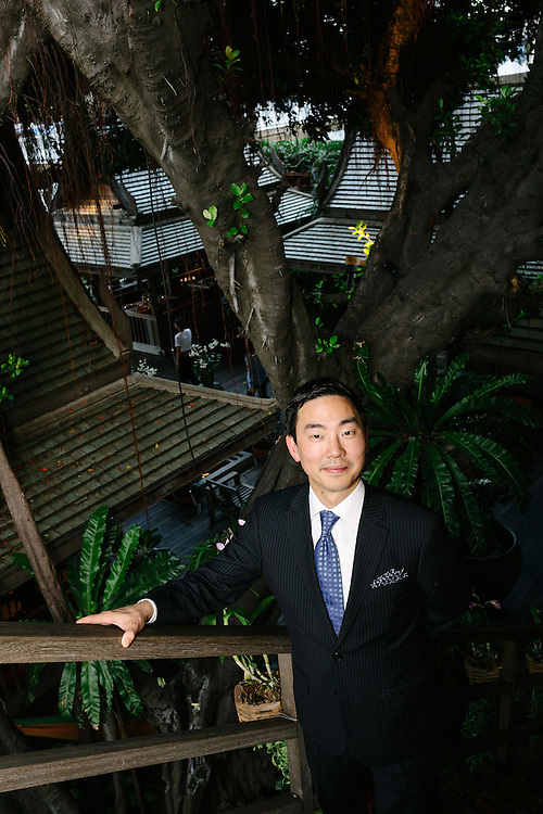 Mark Choon, Hotel Manager at The Peninsula Bangkok. The Peninsula Bangkok is a luxury hotel located at the end of the Charoennakon Road directly beside the Chao Phraya River. The hotel is part of The Peninsula Hotels Group based in Hong Kong which is owned by Hongkong and Shanghai Hotels Limited. The Hotel has won numerous awards for luxury including Asia's number one city hotel and the best hotel in Bangkok. Due to the hotels W shaped structure, there is a view of the river from everyone of its 370 rooms.