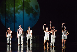 """© Licensed to London News Pictures. 16/10/2012. London, England. Rambert Dance Company perform the new pice """"Labyrinth of Love"""" by choreographer Marguerite Donlon at Sadler's Wells Theatre, London. Music by Michael Daugherty, visual imagery by Mat Collishaw. With the soprano Kirsty Hopkins. Photo credit: Bettina Strenske/LNP"""