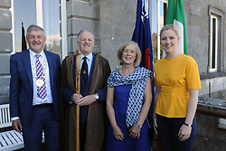 Pictured at the reception and Historical talk at Westport House as part of the O'Malley Clan events over the weekend from left Cllr Michael Holmes, Chieftan Pearse O'Malley, Kathleen O' Malley and Lisa Chambers TD.<br /> Pic Conor McKeown