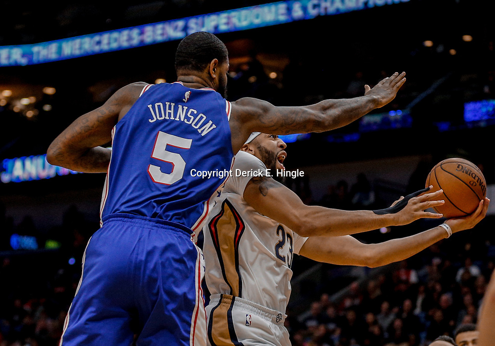 Dec 10, 2017; New Orleans, LA, USA; New Orleans Pelicans forward Anthony Davis (23) shoots over Philadelphia 76ers forward Amir Johnson (5) during the first quarter of a game at the Smoothie King Center. Mandatory Credit: Derick E. Hingle-USA TODAY Sports
