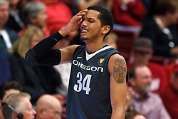 Feb 19, 2012; Stanford CA, USA; Oregon Ducks guard Devoe Joseph (34) reacts after a play against the Stanford Cardinal during the first half at Maples Pavilion.  Mandatory Credit: Jason O. Watson-US PRESSWIRE