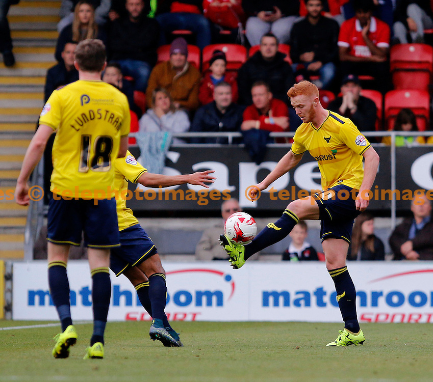 Ryan Taylor or Oxford United on the ball during the Sky Bet League 2 match between Leyton Orient and Oxford United at the Matchroom Stadium in London. October 17, 2015.<br /> Carlton Myrie / Telephoto Images<br /> +44 7967 642437