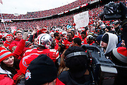 Ohio State players and fans celebrate the win over Michigan after the game at Ohio Stadium on 11/24/2012. (Photo by Joe Robbins)