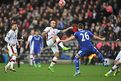 SAMIR CARRUTHERS MK DONS BATTLES WITH CHELSEA JOHN TERRY, MK Dons v Chelsea,  FA Cup 4th Round Stadium MK Sunday 31st January 2016