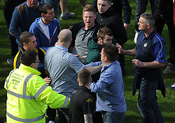 Tempers flare and Bristol Rovers fans turn on each other.  - Photo mandatory by-line: Alex James/JMP - Mobile: 07966 386802 03/05/2014 - SPORT - FOOTBALL - Bristol - Memorial Stadium - Bristol Rovers v Mansfield - Sky Bet League Two