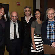 (l-r) Joshua Bell, Salman Rushdie, Wesley Stace,Maria Venegas and Stephen Haff at the 'Still Waters in a Storm' benefit at The City Winery NYC. <br /> <br /> Still Waters in a Storm is a free school for children in the neighborhood of Bushwick, Brooklyn.Volunteers offer homework help and classes in reading, writing, violin, music composition, yoga and Latin, all free of charge to low-income families in the neighborhood.<br /> Salman Rushdie at the 'Still Waters in a Storm' benefit at The City Winery NYC. <br /> <br /> Still Waters in a Storm is a free school for children in the neighborhood of Bushwick, Brooklyn.Volunteers offer homework help and classes in reading, writing, violin, music composition, yoga and Latin, all free of charge to low-income families in the neighborhood.