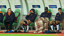 MOSCOW, RUSSIA - Thursday, November 8, 2012: Liverpool's Joe Cole sits in the bench dejected after being substituted against FC Anji Makhachkala during the UEFA Europa League Group A match at the Lokomotiv Stadium. (Pic by David Rawcliffe/Propaganda)