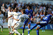 Everton's Victor Anichebe (28 right) shoots and scores the opening goal. Barclays Premier league, Swansea city v Everton at the Liberty stadium in Swansea, South Wales on Sat 22nd Sept 2012.   pic by  Andrew Orchard, Andrew Orchard sports photography,