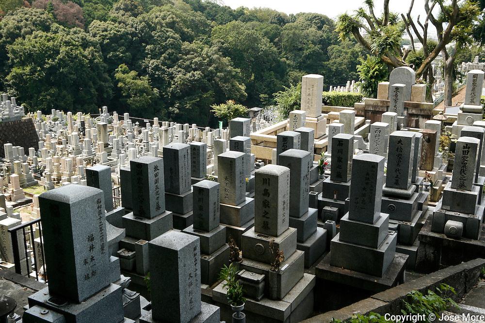 Kyoto, Japan: Nishi Otani cemetery near Kiyomizu-dera temple. <br /> Photography by Jose More
