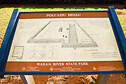 Interpretive sign at Poli'ahu Heiau (temple), Wailua River State Park, Island of Kauai, Hawaii