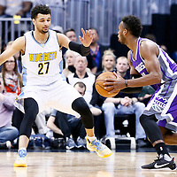 06 March 2017: Denver Nuggets guard Jamal Murray (27) defends on Sacramento Kings guard Buddy Hield (24) during the Denver Nuggets 108-96 victory over the Sacramento Kings, at the Pepsi Center, Denver, Colorado, USA.