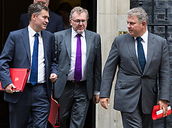 London, September 5th 2017. Secretary of State for Work and Pensions David Gauke, left, Scotland Secretary David Mundell and Minister of State for Immigration Brandon Lewis (right) leave the first UK cabinet meeting at Downing Street after the summer recess. ©Paul Davey