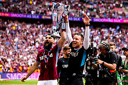 Mile Jedinak of Aston Villa and Aston Villa Assistant Manager John Terry celebrate winning promotion to the Premier League after beating Derby County in the Sky Bet Championship Playoff Final - Mandatory by-line: Robbie Stephenson/JMP - 27/05/2019 - FOOTBALL - Wembley Stadium - London, England - Aston Villa v Derby County - Sky Bet Championship Play-off Final