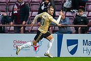 Niall McGinn (#10) of Aberdeen FC runs away to celebrate after scoring the equalising goal during the Ladbrokes Scottish Premiership match between Heart of Midlothian FC and Aberdeen FC at Tynecastle Stadium, Edinburgh, Scotland on 29 December 2019.