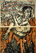 German political poster, 1919.  Man with red sash standing against background of red flags points to three phrases underlined in red 'Undisturbed demobilization', 'Creation of the Republic', 'Peace'. Government Election Propaganda