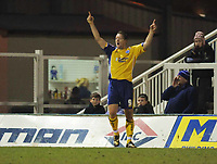 Steve Howard (Leicester) Celebrates his first of the night<br /> Hartlepool United vs Leicester City at Victoria Park Hartlepool Football League one<br /> 17/02/2009. Credit Colorsport / Darren Blackman