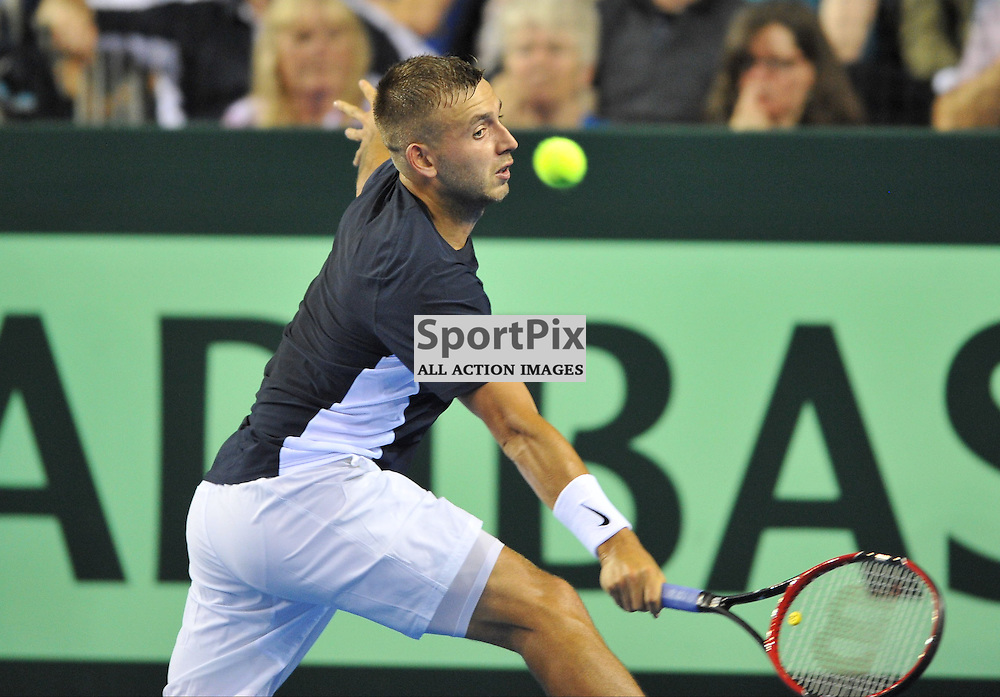 Dan Evans in action during the Great Britain v Australia, Semi Finals,  Aegeon Davis Cup by BNP Paribas, Friday 18 September 2015 (c) Angie Isac | SportPix.org.uk