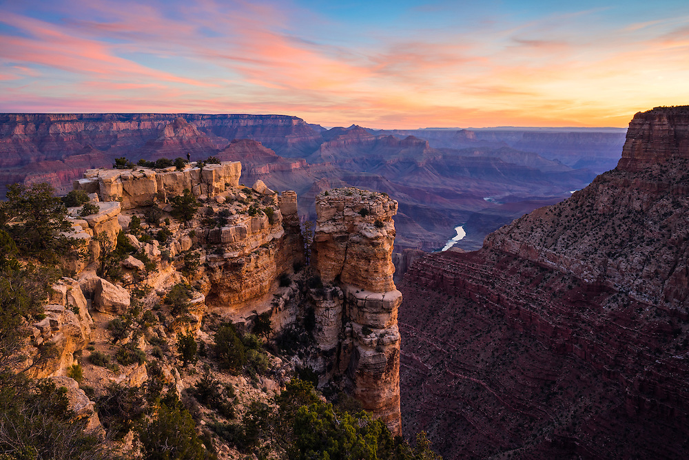 Dawn over the Grand Canyon. and the Colorado River. From the South Rim of Grand Canyon National Park in Arizona.