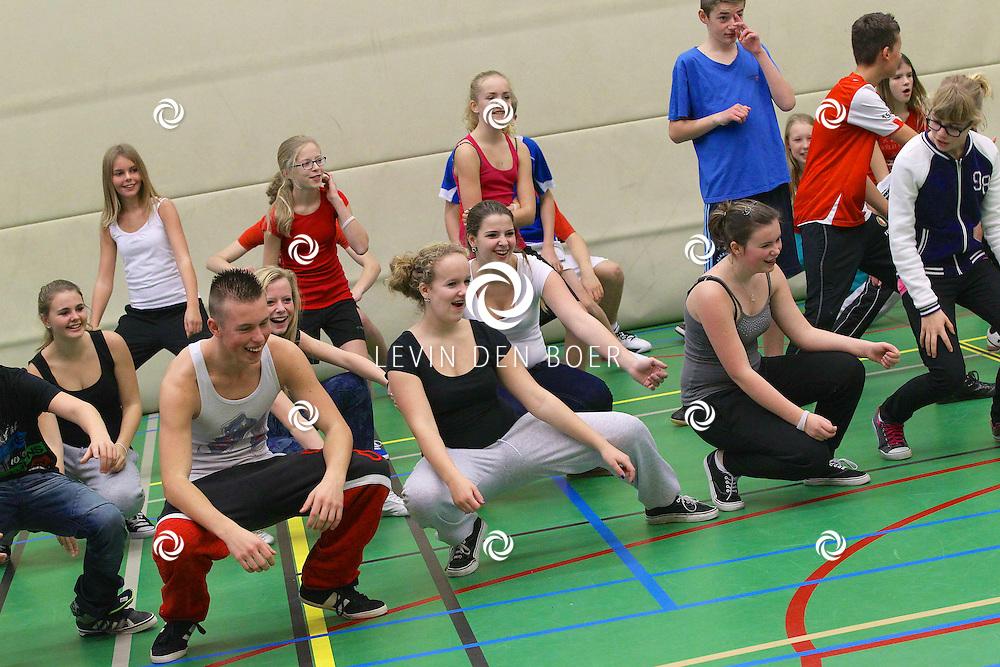 ZALTBOMMEL - In de sporthal van het Cambium dansen Leerlingen zich uit de naad voor het goede doel. Dance4Life zamelt geld in voor de strijd tegen HIV. FOTO LEVIN DEN BOER - PERSFOTO.NU