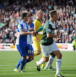 Bristol Rovers' Steve Mildenhall comes up for the corner  - Photo mandatory by-line: Dougie Allward/JMP - Tel: Mobile: 07966 386802 07/09/2013 - SPORT - FOOTBALL -  Home Park - Plymouth - Plymouth Argyle V Bristol Rovers - Sky Bet League Two