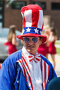 Man dressed up at the Fourth of July parade in Ames, Iowa