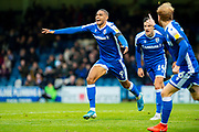 Gillingham FC forward Mikael Mandron (9) scores a goal (1-0) and celebrates during the EFL Sky Bet League 1 match between Gillingham and Lincoln City at the MEMS Priestfield Stadium, Gillingham, England on 16 November 2019.