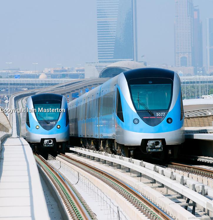 View of Metro railway in Dubai United Arab Emirates