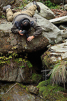 Naturte photographer Wu Ying in action, Tangjiahe National Nature Reserve, NNR, Qingchuan County, Sichuan province, China
