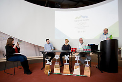 Marusa Gorisek, Paddy Kaser - representative World Curling Federation, Tadeja Brankovic and Gregor Rigler - representative Slovenian Curling Association at press conference of Slovenian Curling Association before Olympic Celebration Tour in Zalog, on February 9, 2018 in Olympic center BTC, Ljubljana, Slovenia. Photo by Urban Urbanc / Sportida