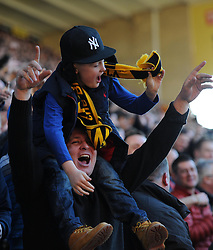 Wolves fans celebrate Benik Afobe's opening goal against Watford - Photo mandatory by-line: Paul Knight/JMP - Mobile: 07966 386802 - 07/03/2015 - SPORT - Football - Wolverhampton - Molineux Stadium - Wolverhampton Wanderers v Watford - Sky Bet Championship