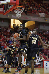 22 December 2009: Rydell Harris grabs a rebound with George Akpele at his side. The Tigers of Grambling State are defeated by the Redbirds of Illinois State 80-56 on Doug Collins Court inside Redbird Arena in Normal Illinois.