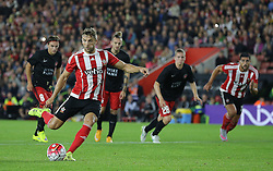 Jay Rodriguez of Southampton scores from the penalty spot to make it 1-1 - Mandatory byline: Paul Terry/JMP - 07966386802 - 20/08/2015 - FOOTBALL - ST Marys Stadium -Southampton,England - Southampton v FC Midtjylland - EUROPA League Play-Off Round