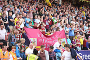 Burnley fans celebrating the win during the Sky Bet Championship match between Charlton Athletic and Burnley at The Valley, London, England on 7 May 2016. Photo by Matthew Redman.