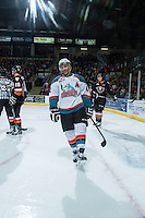 KELOWNA, CANADA - FEBRUARY 28: Tyrell Goulbourne #12 of Kelowna Rockets celebrates a goal against the Calgary Hitmen on February 28, 2015 at Prospera Place in Kelowna, British Columbia, Canada.  (Photo by Marissa Baecker/Shoot the Breeze)  *** Local Caption *** Tyrell Goulbourne;
