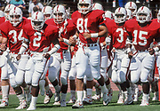 PALO ALTO, CA -  1989:  Cory Booker #81 and his Stanford Cardinal teammates jog on the field during warmups prior to a football game during the 1989 season at Stanford Stadium in Palo Alto, California.  Other visible players include Scott Eschelman #34, Alan Grant #2, Kevin T. Scott #3,  and Gary Taylor #15 (Photo by David Madison/Getty Images) *** Local Caption *** Cory Booker