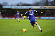 Callum McFadzean of Stevenage attacks during the Sky Bet League 2 match between Crawley Town and Stevenage at the Checkatrade.com Stadium, Crawley, England on 26 December 2015. Photo by Phil Duncan.