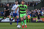 Forest Green Rovers Christian Doidge(9) on the ball during the EFL Sky Bet League 2 second leg Play Off match between Forest Green Rovers and Tranmere Rovers at the New Lawn, Forest Green, United Kingdom on 13 May 2019.