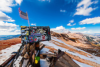View from the top of 13,114 foot (3997m) Imogene Pass, San Juan Mountains, southwest Colorado USA.