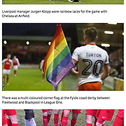 Rainbow Corner flag, Fleetwood v Blackpool