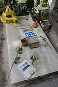 "Tomb of the punk singer and musician Mano Solo in the Pere Lachaise cemetery, Paris. Mano Solo (1963-2010), Mano Solo developed other talents, including art. He designed the covers of some of his albums. He founded his own publishing imprint (La Marmaille Nue), which released two of his own books: a poetry anthology, Je suis là (""I am here"") (1995), and a novel, Joseph sous la pluie (""Joseph in the rain"") (1996). From 2001, Solo became interested in the Internet creating his own website around his artistic, social, and political interests, while encouraging his visitors to be creative themselves..Solo, who suffered from HIV/AIDS, was rushed to a hospital after a concert in Paris."