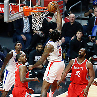 28 February 2018: LA Clippers center DeAndre Jordan (6) goes for the dunk during the Houston Rockets 105-92 victory over the LA Clippers, at the Staples Center, Los Angeles, California, USA.