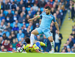 MANCHESTER, ENGLAND - Saturday, October 15, 2016: Manchester City's Sergio Aguero in action against Everton during the FA Premier League match at the City of Manchester Stadium. (Pic by Gavin Trafford/Propaganda)
