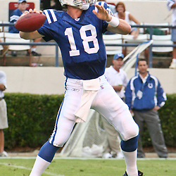 26 August 2006: Indianapolis Colts quarterback Peyton Manning (18) in action during a NFL preseason game between the Indianapolis Colts against the New Orleans Saints at Veterans Memorial Stadium in Jackson, Mississippi.