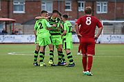 The Forest Green Rovers players celebrate Nathan Trueman's goal, 1-1 during the Pre-Season Friendly match between Worthing FC and Forest Green Rovers at Woodside Road, Worthing, Uni on 1 August 2017. Photo by Shane Healey.