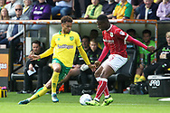 Josh Murphy of Norwich and Jonathan Leko of Bristol City in action during the Sky Bet Championship match at Carrow Road, Norwich<br /> Picture by Paul Chesterton/Focus Images Ltd +44 7904 640267<br /> 23/09/2017