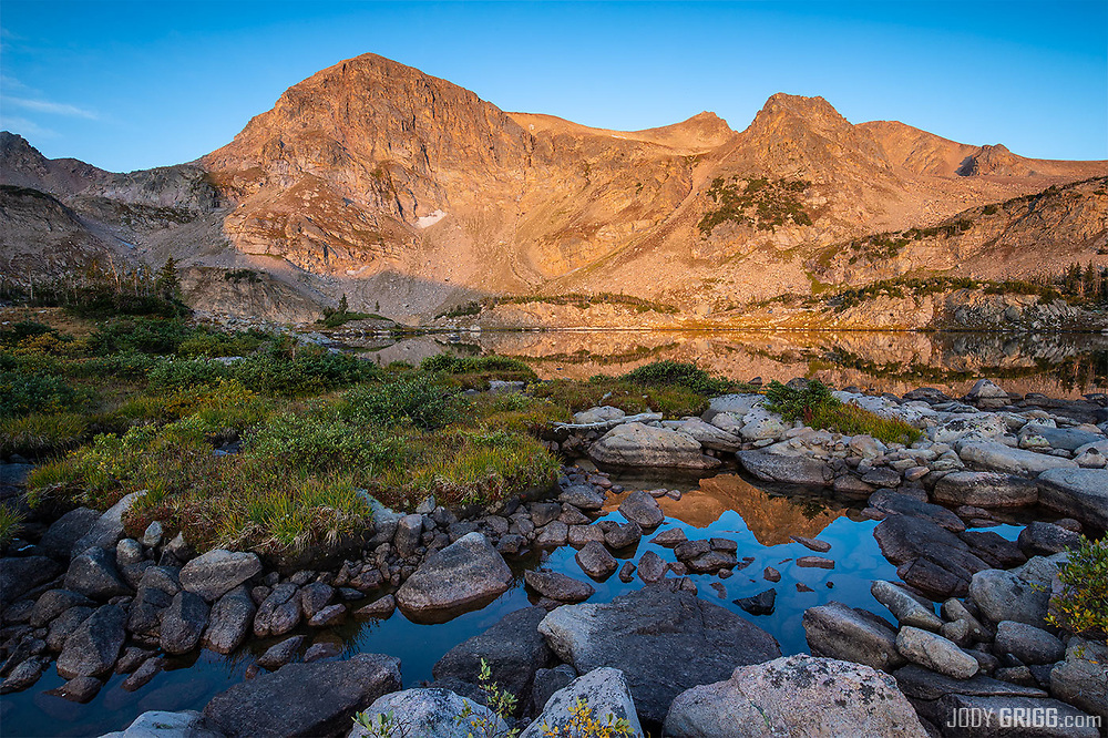 Sunrise at Twin Crater Lakes in the Rawah Wilderness Area in Northern Colorado.