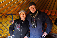 Staffan Widstrand with Mongolian Shepherd and school teacher Qi Qi Ge, 64 years old and her daughter's tent or Yurt, Inner Mongolia, China